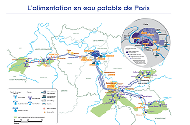 Carte de l'alimentation en Eau potable de Paris